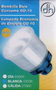 Bombilla Bajo consumo (Sustitucion dicroicas) GU-10 11Watios