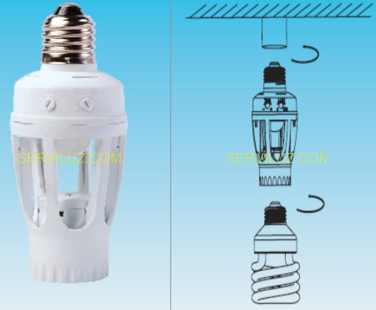 Portalampara casquillo con sensor pir para bombilla de - Detector de movimiento para luces ...