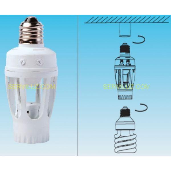 Portalampara casquillo con sensor pir para bombilla de - Detector de luz ...