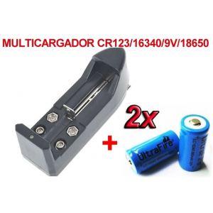 2 x Baterias/Pilas CR 123A 3.6v 16340 Recargables Litio-ion + Multi Cargador