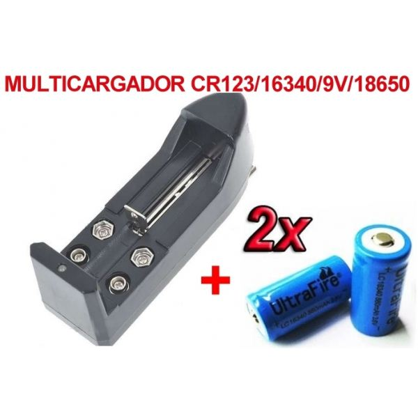 2 x baterias pilas cr 123a 16340 recargables litio - Cargador pilas recargables ...