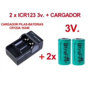 2 x Pila-Bateria CR123A 3V  Recargable 800 mAh  + Cargador