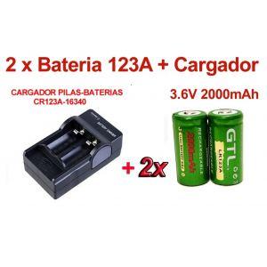 2 x Pilas/Baterias CR123A 123A 2000 mAh 3.6V Litio-ion + Cargador Digital