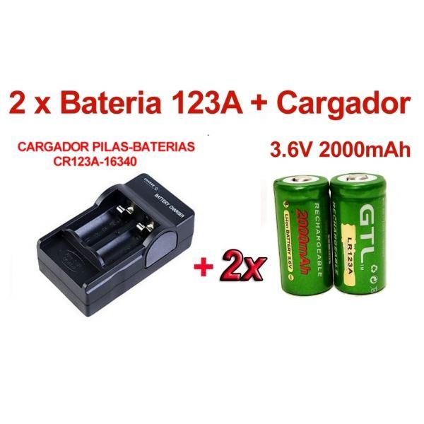 2 x pilas baterias cr123a lr123a 3 6v 2000 mah de litio