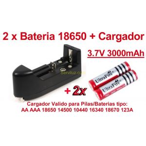 2 x Pila/Bateria Recargable 18650 3.7V 3000 mAh Li-Ion + Multi Cargador