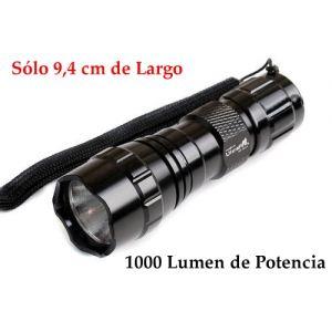 Linterna LED CREE XM-L T6, 1000 Lumen de potencia 5 modos y 9,4 cm