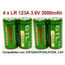 4 x Pilas-Baterias Recargables Li-ion UltraFire LR123A 3,6V 2000mAh