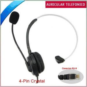 Auricular Telefonico con micrófono y entrada de línea telefónica RJ9 de 2 m.