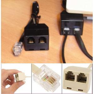 Conector-Adaptador para auriculares RJ9 4P4C Cable doble escucha para auriculares