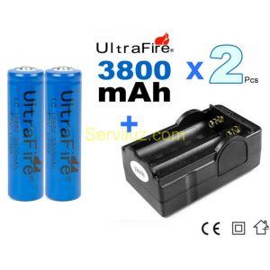 2 x Pila/Bateria 18650 Recargable 18650 3800mAh + cargador