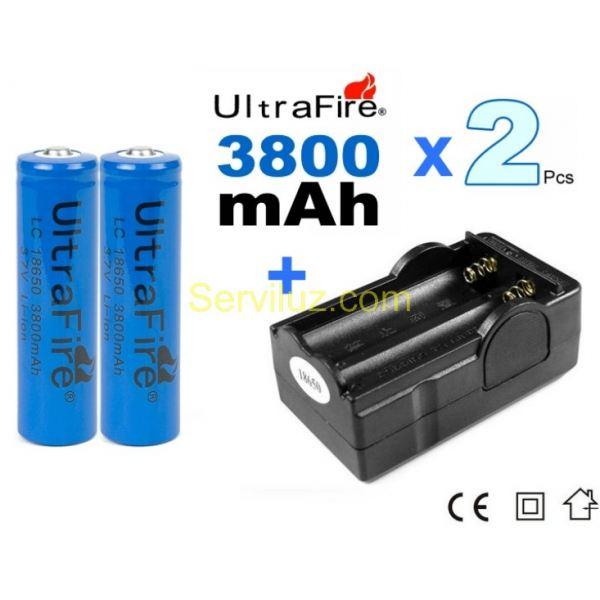 2 x bateria pila 18650 recargable 18650 3800mah cargador - Cargador pilas recargables ...