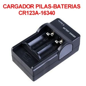 Cargador Pilas -Baterias CR123A 3v-3.6v Litio Doble