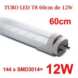 Tubo LED T8 12W 60cm Tubo T8 144 LED 3014 4500Kº