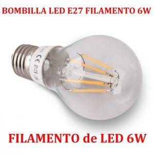 Bombilla LED E27 Luz Filamento LED E27 de 6W