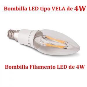 Bombilla LED E14 Vela Filamento LED 4W