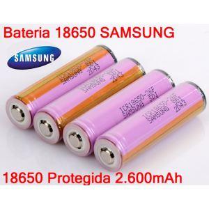Bateria 18650 SAMSUNG Recargable 2.600mAh Protegida (Unidad)
