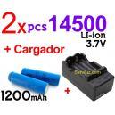 2x Baterias/Pilas 14500 + Cargador Digital