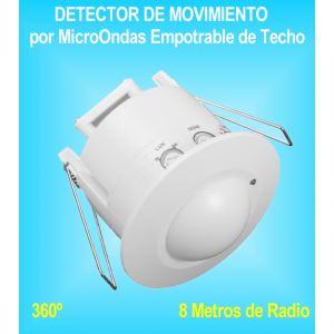Detector de Movimiento y Presencia Sensor Microondas Empotrable techo 360º