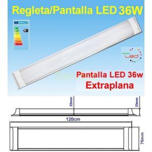 Regleta Pantalla LED 36w de 120cm a 220v (Equiv. Fluorescente 72w) extraplana