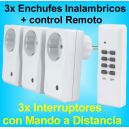3x Enchufe Inalambrico Interruptor con Mando a Distancia