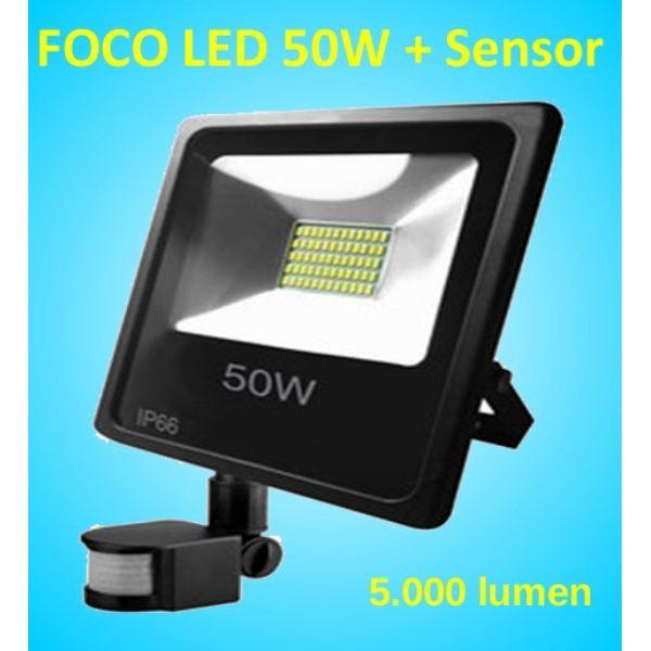 foco led con sensor de movimiento proyector de 50w con