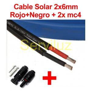 Cable Solar Fotovoltaico 2x 6mm Bipolar R/N 5 Metros + 2x MC4