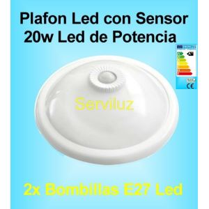 Plafon Led con Sensor de Movimiento Presencia Lampara Led de 20W detector PIR