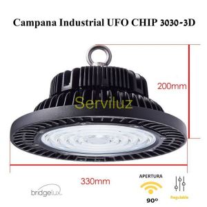 Campana LED UFO 150W Industrial CHIP 3030-3D Bridgelux IP65 90º 150Lm/W Regulable