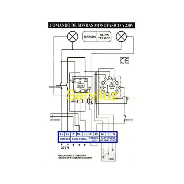 Esquema de Cuadro Electrico de Sondas y Conexion de Sondas de Nivel a Cuadro electrico de Serviluz