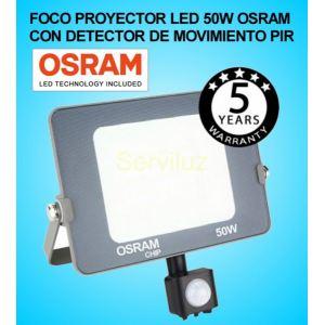 Foco Proyector LED 50W con Detector de Movimiento Sensor PIR OSRAM IP65 6000K