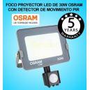 Foco Proyector LED 30W Detector de Movimiento Sensor PIR OSRAM IP65 6000K