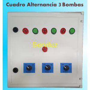 Cuadro de Alternancia para 3 bombas Monofasico 230V y 3 HP con Alarma