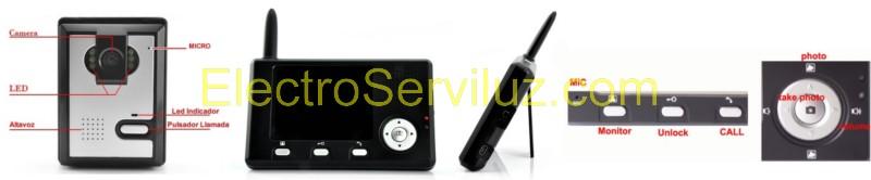 VideoPortero Inalambrico frecuencia 2.4Ghz digital Encriptada detalles